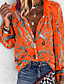 cheap Blouses & Shirts-Women's Plus Size Geometric Loose Shirt Daily V Neck Blue / Purple / Red / Yellow / Orange / Beige