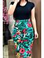 cheap Midi Dresses-Women's Elegant Sheath Dress - Floral Print Black Red Rainbow S M L XL