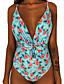 cheap One-Pieces-Women's Basic Boho Black Wine Light Blue Halter Cheeky One-piece Swimwear Swimsuit - Floral Geometric Lace up Print S M L Black