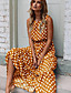 cheap Summer Dresses & Boho-Women's Maxi Swing Dress - Sleeveless Polka Dot Spring & Summer Elegant Slim 2020 Black Yellow Navy Blue Khaki Green S M L XL XXL