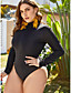 cheap Plus Size Swimwear-Women's Plus Size One-piece Swimsuit Paisley Swimwear Bathing Suits Black