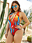 cheap Plus Size Swimwear-Women's Halter Sexy One-piece Swimsuit Backless Floral Tropical Floral Plunging Neck Swimwear Bathing Suits Blue Red / Padded Bras