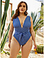 cheap Sexy Swimwear-Women's Plus Size Sporty One-piece Swimsuit Bowknot Front Tie Stripes Plunging Neck Swimwear Bathing Suits Royal Blue / Padded Bras