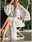 cheap Summer Dresses & Boho-Women's Sheath Dress Maxi long Dress - Long Sleeve Solid Color V Neck White S M L XL XXL XXXL