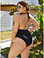 cheap Plus Size Swimwear-Women's Plus Size Halter Basic Sexy One-piece Swimsuit Backless Ruched Tummy Control Solid Colored Plunging Neck Swimwear Bathing Suits Black / Padded Bras