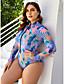 cheap Plus Size Swimwear-Women's High-Waisted One-piece Swimsuit High Waist Geometric Swimwear Bathing Suits Purple / Padded Bras