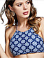 cheap Bikini Tops-Women's Bikini Top Swimsuit Geometric Swimwear Bathing Suits Blue / Padless