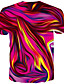 cheap Men's 3D-Men's Tee T shirt Shirt Graphic Abstract Print Short Sleeve Daily Tops Basic Designer Big and Tall Round Neck Blue Red Gold / Summer