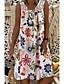 cheap Valentine's Gifts-Women's Shift Dress Knee Length Dress Army Green Fuchsia White Black Navy Blue Sleeveless Floral Print Summer Round Neck Hot Mumu Beach vacation dresses Loose 2021 M L XL XXL 3XL 4XL 5XL / Plus Size
