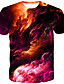 cheap Men's 3D-Men's T shirt Shirt Galaxy Graphic Print Short Sleeve Casual Tops Basic Boho Round Neck Orange Green Rainbow / Summer