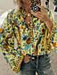 cheap Blouses & Shirts-Women's Blouse Shirt Geometric Long Sleeve Shirt Collar Tops Loose Basic Top Blue Red Yellow