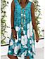 cheap Casual Dresses-Women's A Line Dress Short Mini Dress Blue Gray Sleeveless Floral Print Summer V Neck Hot Casual Holiday Plus Size 2021 S M L XL XXL 3XL 4XL 5XL