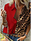cheap Blouses & Shirts-Women's Plus Size Leopard Loose Shirt Daily Shirt Collar Light Brown / White / Blue / Red / Yellow