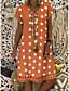 cheap Summer Dresses-Women's Plus Size Shift Dress Knee Length Dress - Short Sleeve Polka Dot Print Summer V Neck Casual Holiday Vacation 2020 Black Blue Red Yellow Orange Khaki Green Gray S M L XL XXL XXXL XXXXL XXXXXL