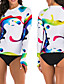 cheap Rash Guards-Women's Rashguard Swimsuit Swimwear Breathable Quick Dry Long Sleeve 2-Piece - Swimming Surfing Water Sports 3D Print Summer / Stretchy
