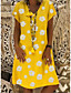 cheap Casual Dresses-Women's Shift Dress Knee Length Dress - Short Sleeve Daisy Floral Print Summer Casual Holiday 2020 Black Yellow Khaki Green S M L XL XXL 3XL 4XL