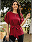 cheap Blouses & Shirts-Women's Blouse Shirt Solid Colored Bow Lace up Round Neck Tops Basic Top Blue Red Green