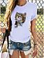 cheap Blouses & Shirts-Women's T-shirt Cat Graphic Print Round Neck Tops 100% Cotton Basic Basic Top Dark Brown Lace Panda Cat