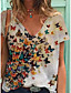 cheap Tees & T Shirts-Women's T-shirt Butterfly Print V Neck Tops Loose Cotton Basic Basic Top White