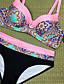 cheap Tankinis-Women's Strap Triangle Cheeky Bikini Tankini Swimwear Swimsuit - Floral Geometric Color Block Backless Print S M L Yellow Blushing Pink Orange Green