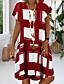 cheap Casual Dresses-Women's Plus Size Sundress Knee Length Dress - Short Sleeve Geometric Print Summer V Neck Casual Vacation 2020 Black Red Royal Blue S M L XL XXL XXXL XXXXL XXXXXL
