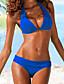 cheap Sexy Swimwear-Women's Sexy Bikini Swimsuit Basic Push Up Solid Colored Halter Neck Swimwear Bathing Suits Black Blue Fuchsia Green / Padded Bras