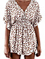 cheap JUMPSUITS & ROMPERS-Women's White Romper Leopard