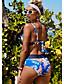 cheap Tankinis-Women's Tankini Swimwear Swimsuit - Floral S M L Blue