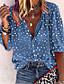 cheap Blouses & Shirts-Women's Blouse Shirt Polka Dot Floral Flower Long Sleeve V Neck Tops Lantern Sleeve Basic Top White Blue Red