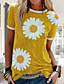 cheap Tees & T Shirts-Women's T shirt Floral Flower Sunflower Round Neck Tops Cotton Blue Red Yellow
