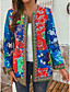 cheap Coats & Trench Coats-Women's Spring Jacket Regular Geometric Daily Ethnic Style Blue Red L XL XXL