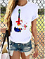 cheap Tees & T Shirts-Women's T-shirt Butterfly Graphic Prints Round Neck Tops Loose 100% Cotton Basic Top Cat White Purple