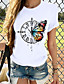 cheap Tees & T Shirts-Women's T-shirt Butterfly Graphic Prints Round Neck Tops Slim 100% Cotton Basic Top Cat White Black