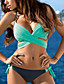 cheap Bikini Sets-Women's Triangle Cross Block Bikini Swimsuit Criss Cross Halter Push Up Solid Colored Swimwear Bathing Suits Yellow Blushing Pink Fuchsia / Padded Bras