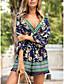 abordables Combinaisons & Barboteuses-Combishort Femme Franges Géométrique Bloc de Couleur Col en V Bleu Marine S M L XL / Ample