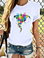 cheap Tees & T Shirts-Women's T shirt Cat Graphic Butterfly Print Round Neck Basic Tops 100% Cotton White Black Blue