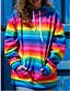 cheap Hoodies & Sweatshirts-Women's Blouse Shirt Rainbow Long Sleeve Halter Neck Tops Basic Top Red