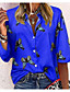 cheap Blouses & Shirts-Women's Blouse Shirt Butterfly Long Sleeve Print Shirt Collar Tops Streetwear Basic Top White Blue Red