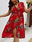 cheap Plus Size Dresses-Women's Wrap Dress Knee Length Dress - Short Sleeve Floral Print Summer V Neck Elegant Slim 2020 White Red Green XL XXL 3XL 4XL