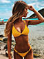 cheap Bikini Sets-Women's Triangle Two Piece Cute Bikini Swimsuit Triangle Solid Colored Plunging Neck Swimwear Bathing Suits White Black Yellow Orange / Padded Bras