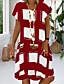 cheap Summer Dresses-Women's Sundress Knee Length Dress - Short Sleeve Geometric Print Summer V Neck Plus Size Casual 2020 Black Red Royal Blue S M L XL XXL 3XL 4XL 5XL