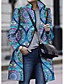 cheap Coats & Trench Coats-Women's Open Front Stand Collar Coat Long Color Block Daily Streetwear Blue M L XL