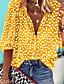 cheap Blouses & Shirts-Women's Blouse Shirt Polka Dot Floral Flower Long Sleeve Round Neck V Neck Tops Casual Basic Top White Black Yellow