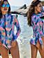 cheap One-Pieces-Women Rash Guard Long Sleeve One Piece Swimsuit Zipper Surfing Bathing Suit UPF 50