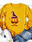 cheap HALLOWEEN-Women's Halloween T-shirt Graphic Prints Pumpkin Long Sleeve Print Round Neck Tops 100% Cotton Basic Halloween Basic Top Black Yellow Army Green