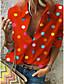 cheap Blouses & Shirts-Women's Plus Size Blouse Shirt Polka Dot Sexy Long Sleeve Print Shirt Collar Tops Casual Basic Top White Blue Red