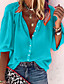 cheap Blouses & Shirts-Women's T-shirt Solid Colored Long Sleeve Round Neck V Neck Tops Basic Top White Black Blue