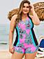 cheap Plus Size Swimwear-Women's Plus Size Floral Style Bikini Swimsuit Criss Cross Print Color Block V Wire Swimwear Bathing Suits Green / Padded Bras