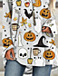 cheap HALLOWEEN-Women's Halloween T-shirt Graphic Prints Long Sleeve Print Round Neck Tops Loose Basic Halloween Basic Top White