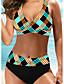 cheap Bikini Sets-Women's Sexy Online Canada Bikini Swimsuit Backless High Waist Geometric Spaghetti Strap Swimwear Bathing Suits Rainbow / Padded Bras